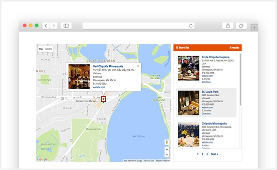 Show store locations with a nice & neat user interface