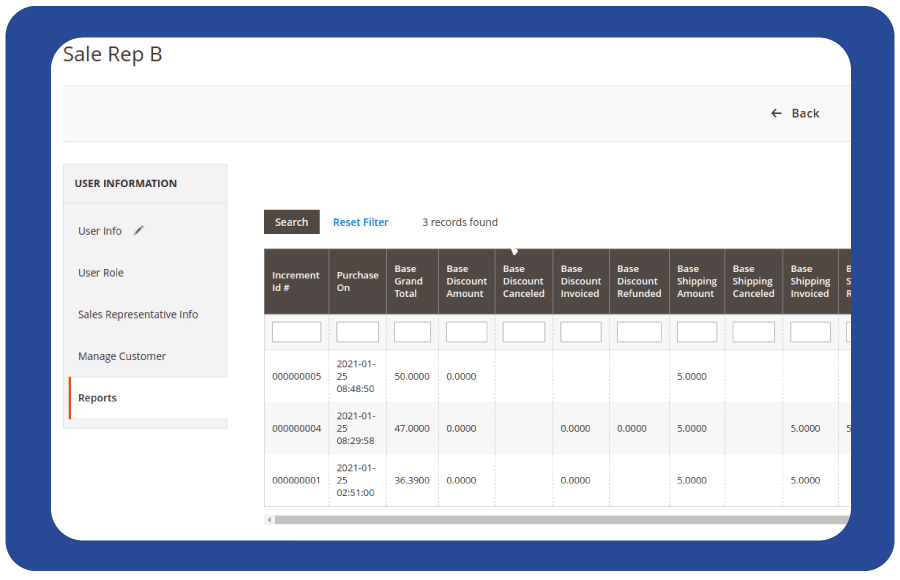 generate sales rep advanced reports