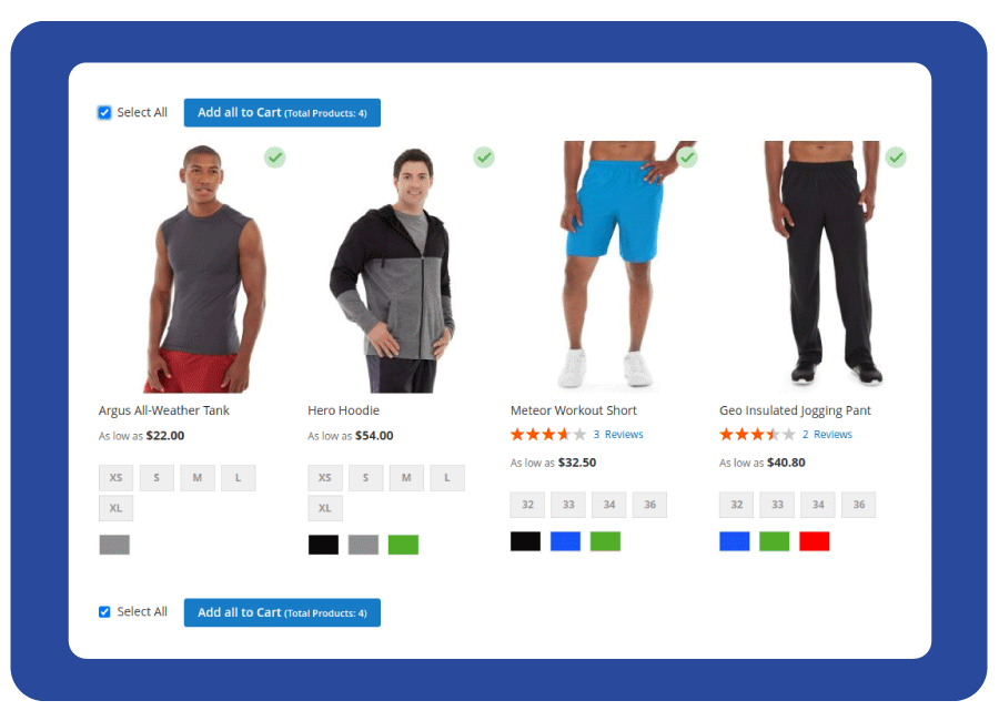 Select multiple products to cart at one time by using checkbox, quantity box, and selected icon