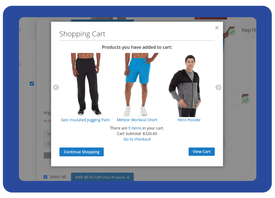 Success pop-up notifying details of products that are added to the cart
