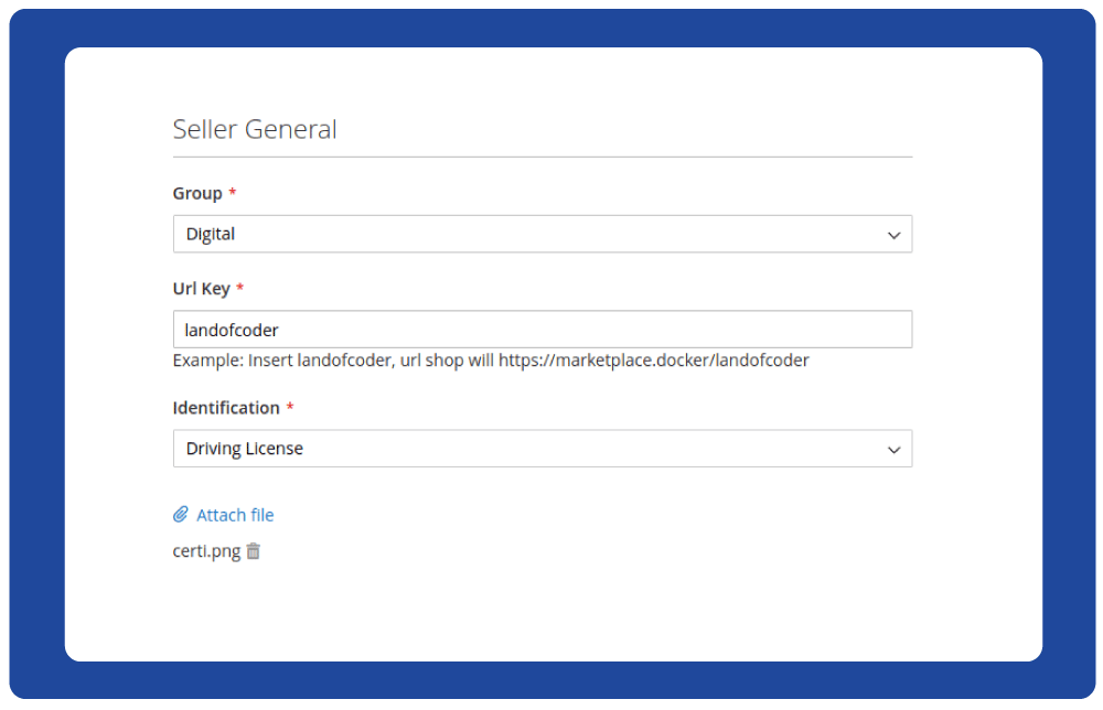 Show identification in the register form