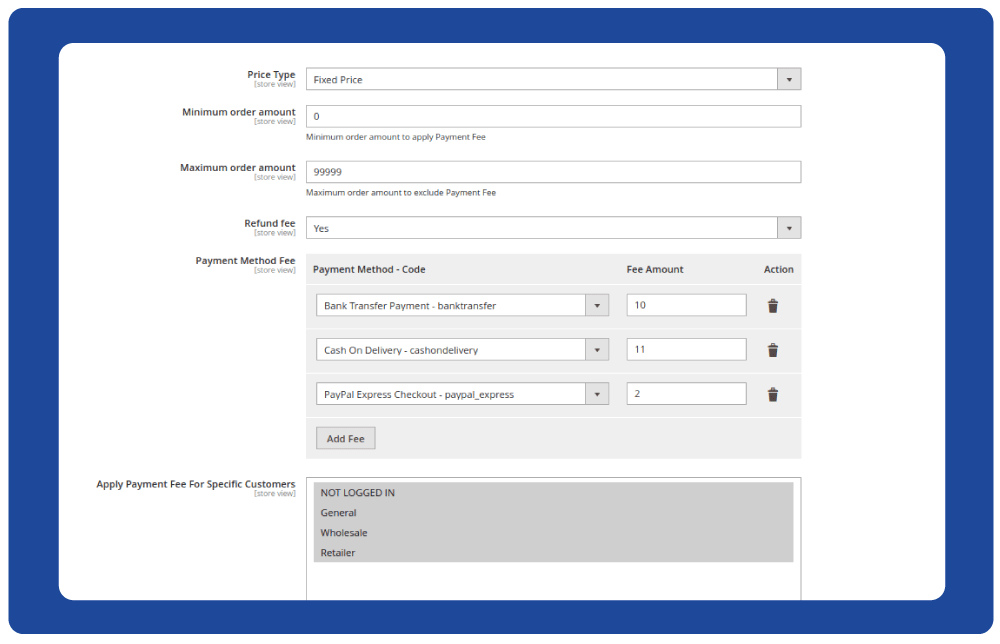 Easily configure the extra payment cost