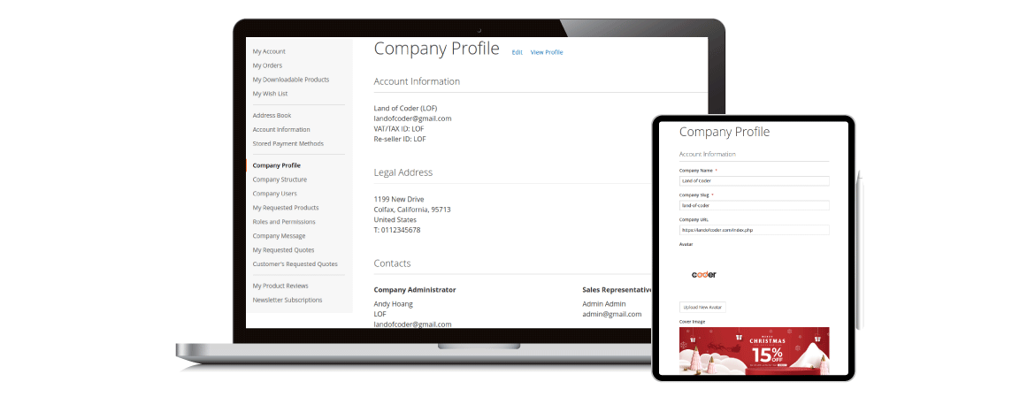 Magento 2 company account pro optimize