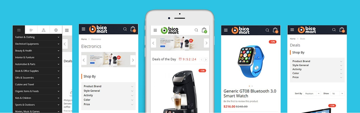 Bicomart Magento 2 Marketplace Theme - Mobile Optimized
