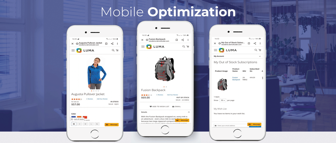 Magento 2 out of stock notification mobile optimized