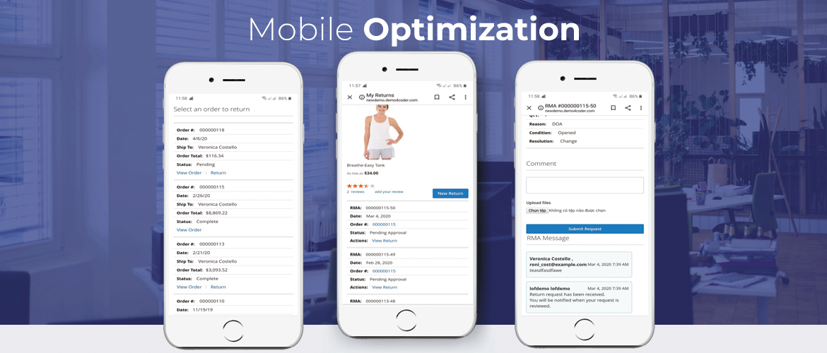 magento 2 rma extension mobile optimize