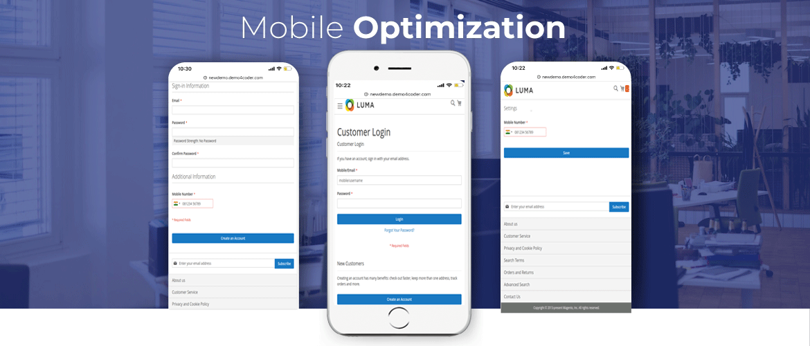 magento 2 sms notification mobile optimize