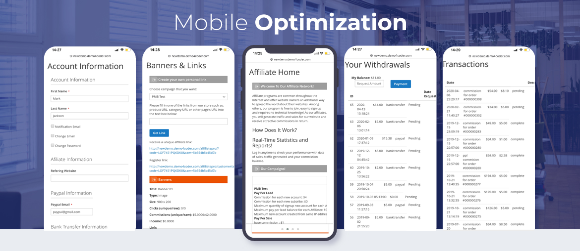 Magento 2 affiliate extension mobile optimized