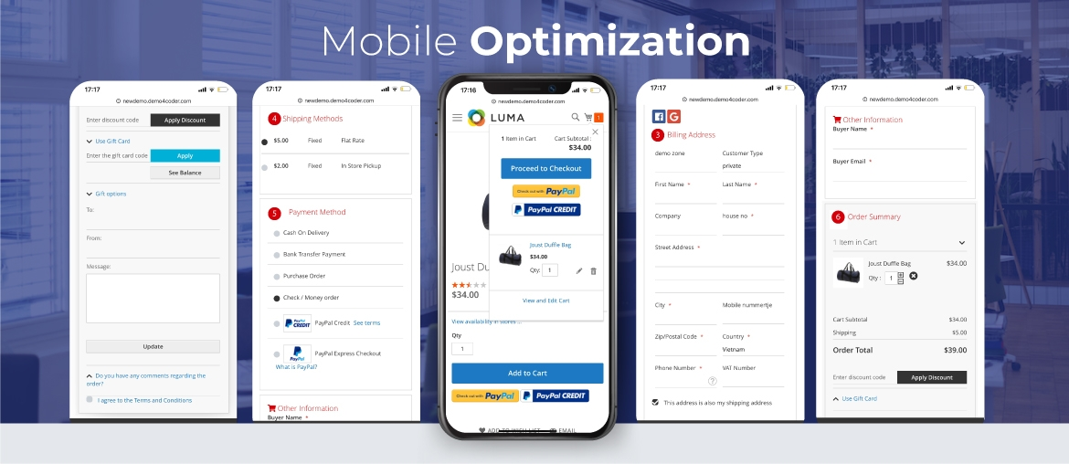 Magento 2 One Page Checkout mobile optimize