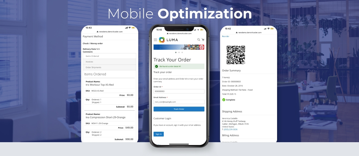 Magento 2 order tracking mobile optimization