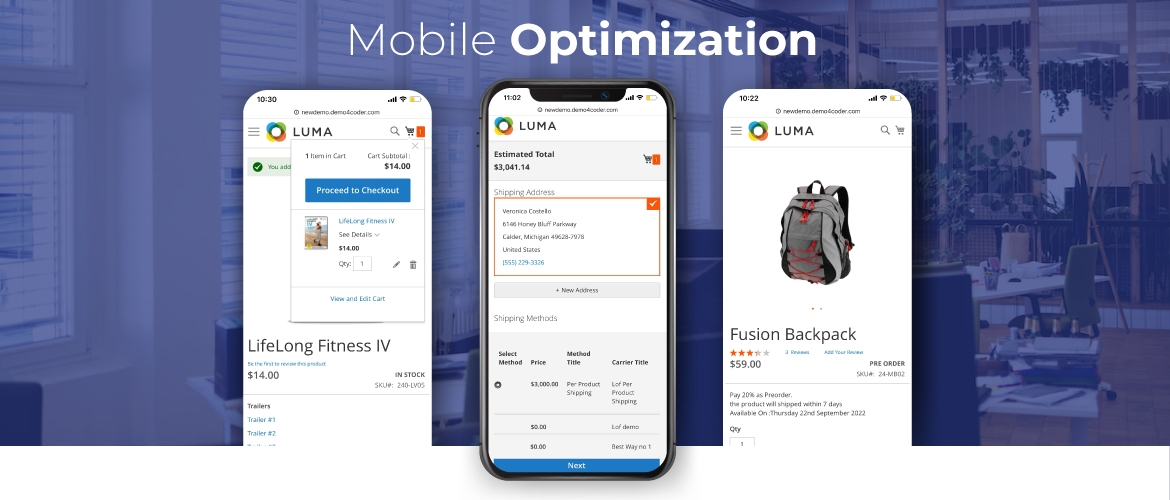 Mobile optimization for shipping table rate extension