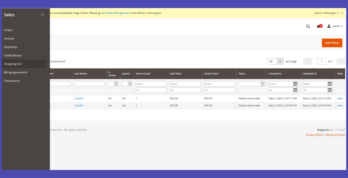 Manage frontend shopping cart from the admin panel