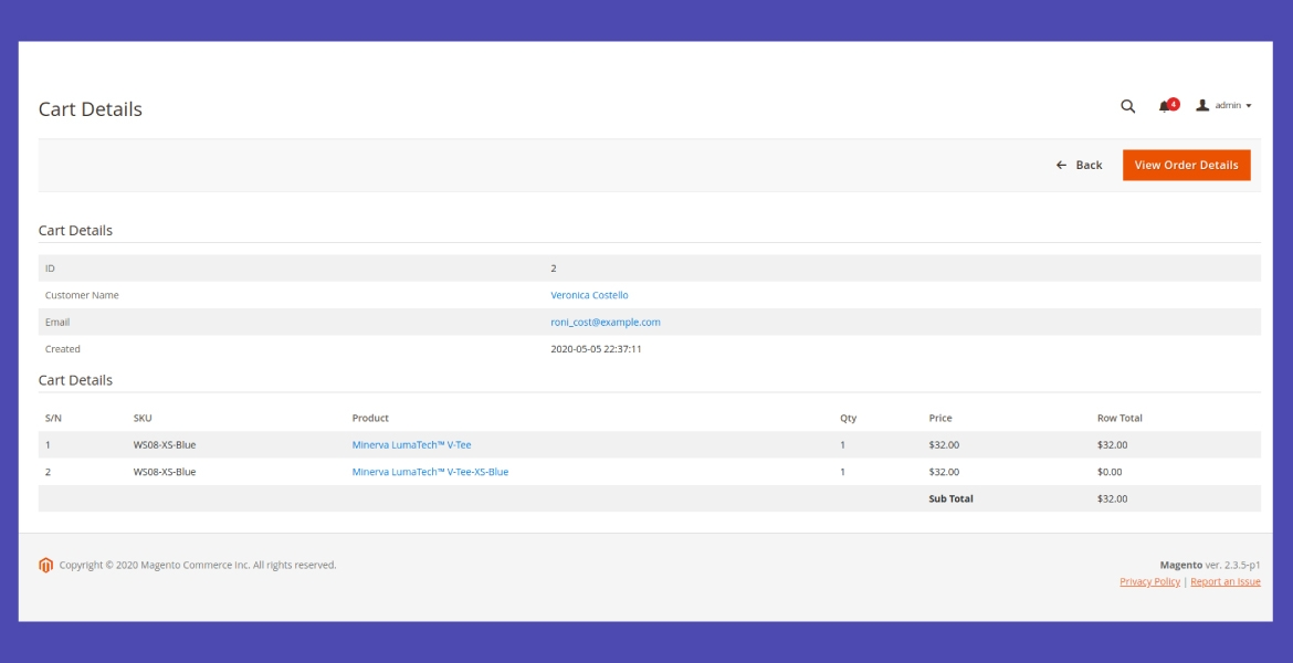 View details of each shopping cart displayed in the backend