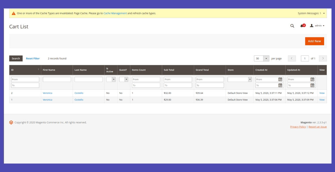 Keep track of all shopping carts from the backend