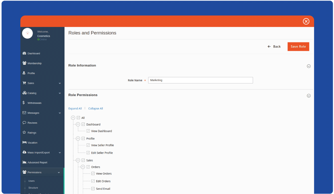 Add new roles and permissions to magento marketplace