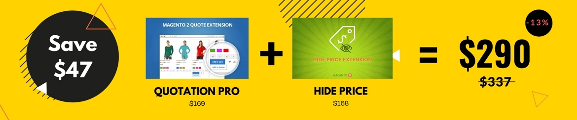 Magento 2 quote extension and hide price