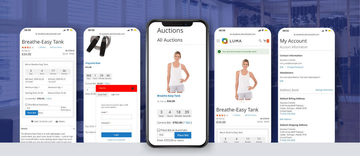 Auction for magento 2 mobile optimization