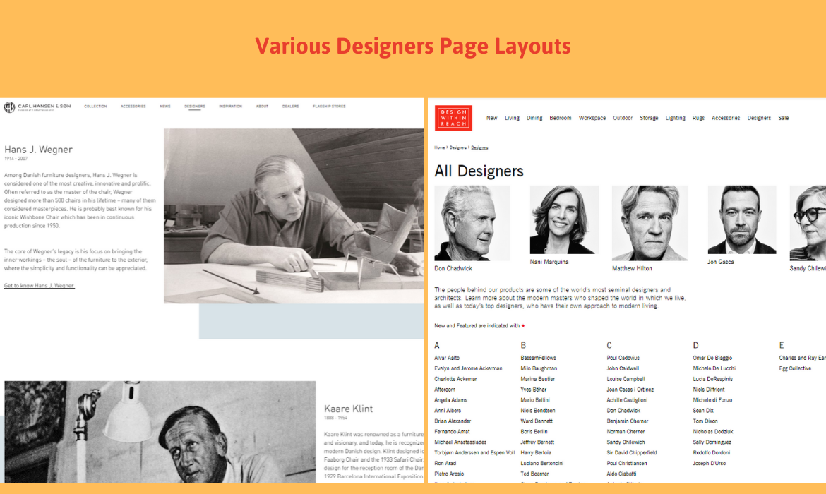 magento 2 designer show designers on different layouts