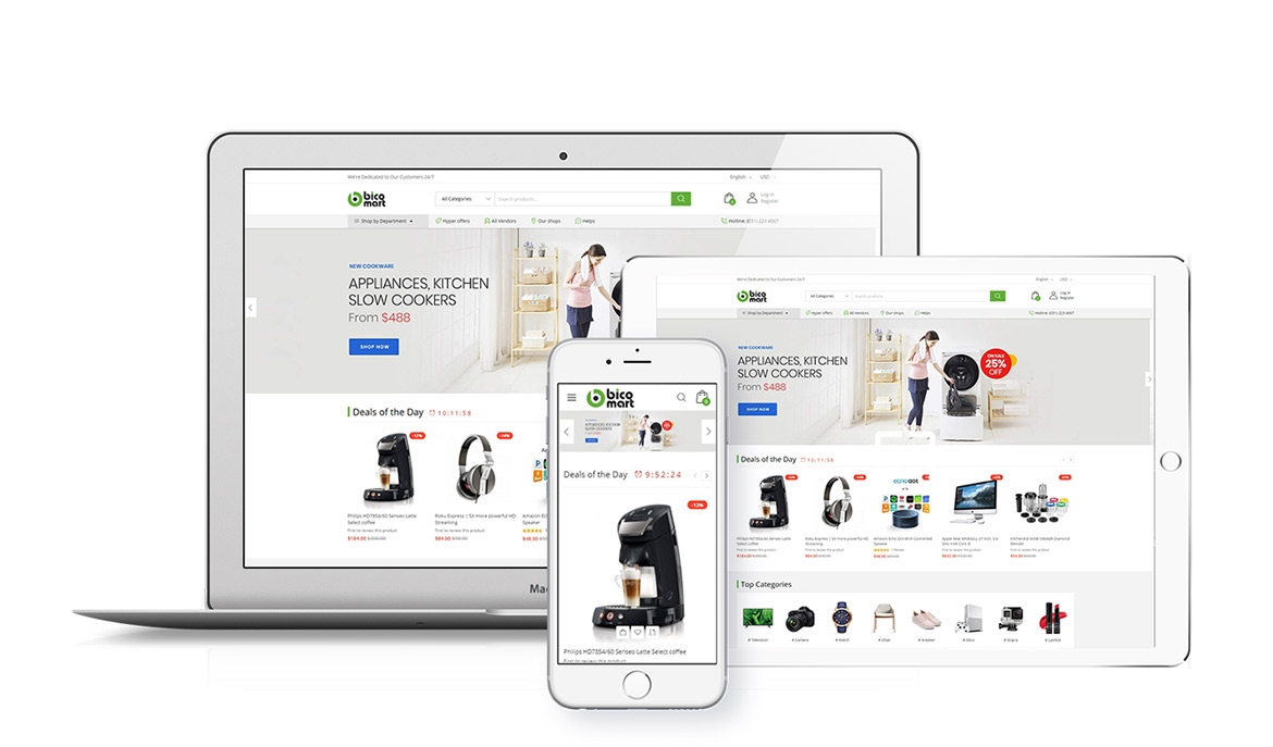 Bicomart Marketplace Theme for Magento 2 - Fully Responsive