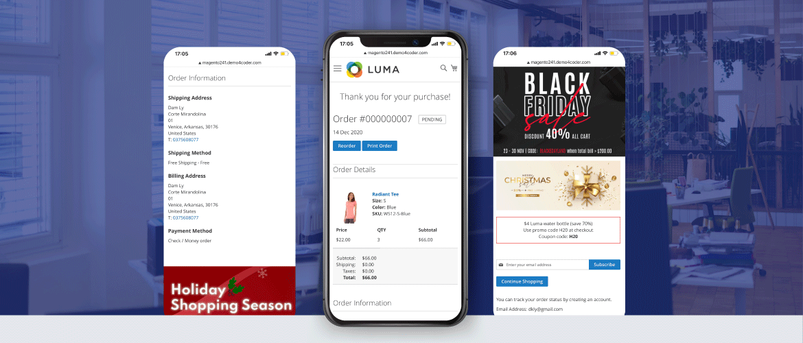 magento 2 checkout success page supports mobile version