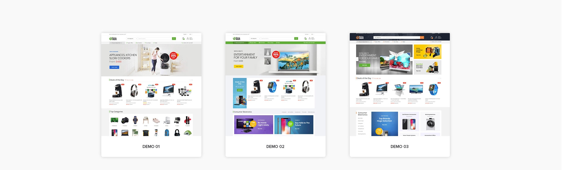 Bicomart Magento 2 Marketplace Theme - 03 Premade Multi Vendor Demos
