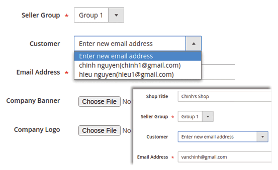 magento 2 marketplace create new sellers with email address in backend