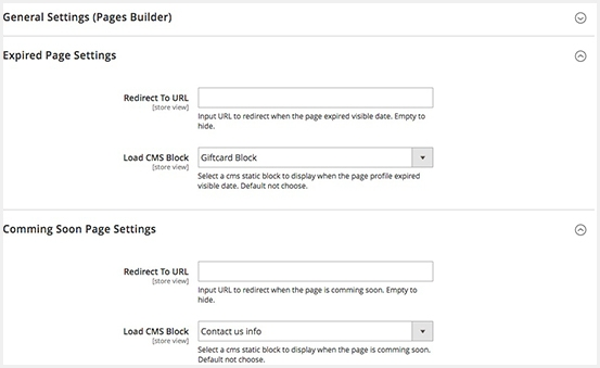 magento 2 page builder free display coming soon expired