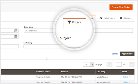 Magento 2 help desk extension search tickets by advanced filters