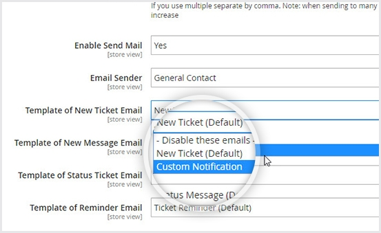 Magento 2 help desk add custom email template & default template