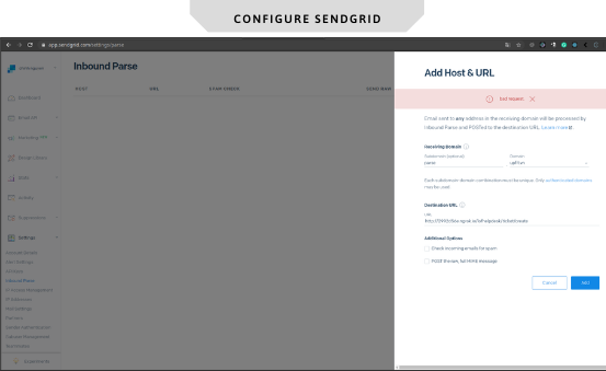 magento 2 help desk configure in sendgrid