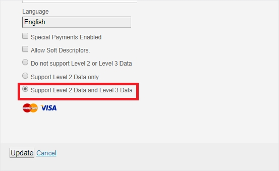 Support Level 2 & 3 for Visa and MasterCard