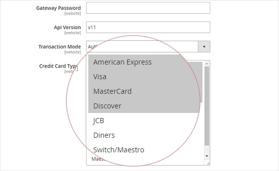 Multiple Credit Card Types Supported - Magento 2 Firstdata Payeezy with Stored Card