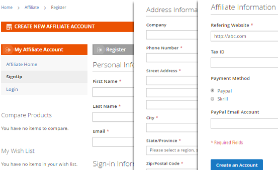 Magento 2 Affiliate Extension registration form