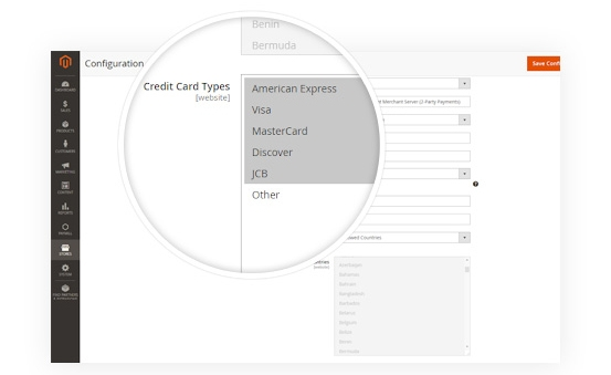 Multiple Credit Card Types Support