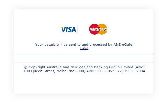 Redirect to ANZ eGate websites after Clicking Place Order