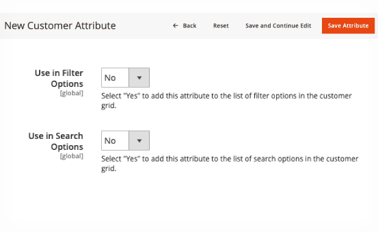 Add attributes to filter option and search option