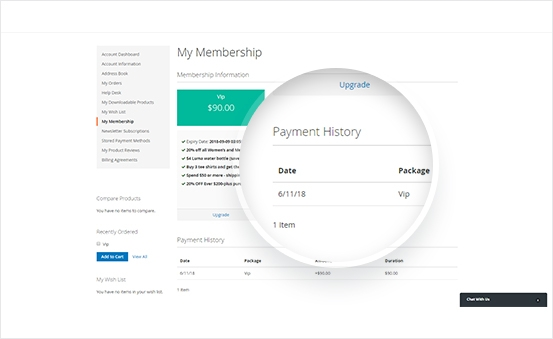 Check Membership Package and Payment History