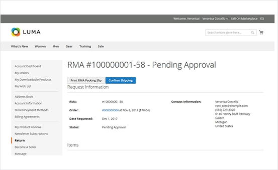 Magento 2 rma packing slip and shipping label and confirm shipping