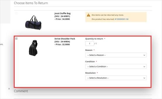 Magento 2 rma flexibly select return items