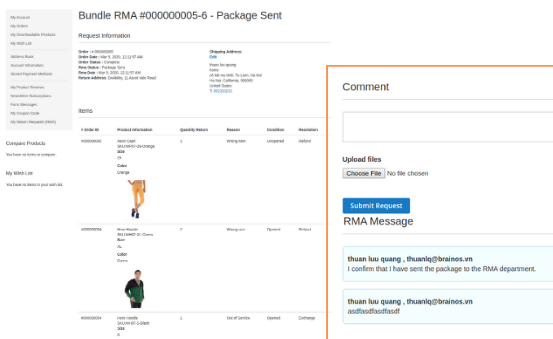 Magento 2 rma extension bundle rma request details
