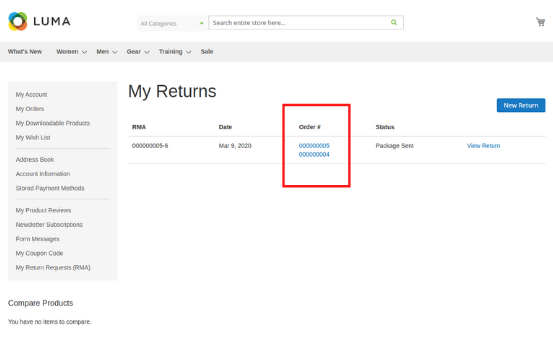 Magento 2 rma extension my returns