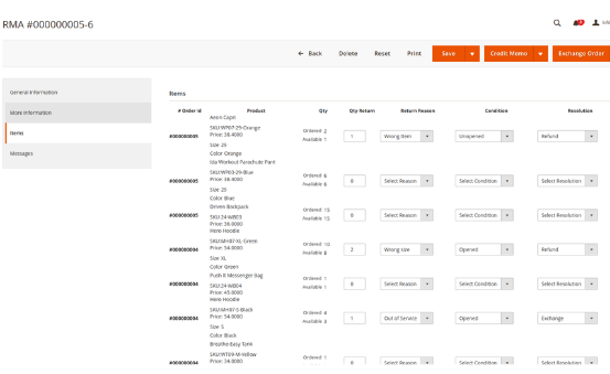 magento 2 rma extension select items in orders for rma in backend