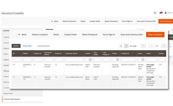 Magento 2 rma extension rma grid on customer edit page