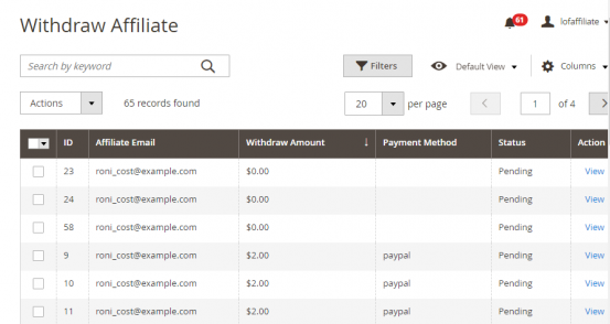 Magento 2 Affiliate Extension free withdrawal management