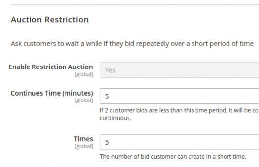 Restrict customers from repeated bidding