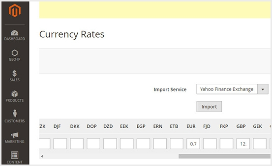Multiple Currency Rates Settings