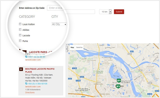 Locate stores through various criteria