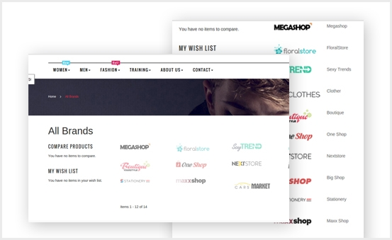 Show brands page with multiple layout