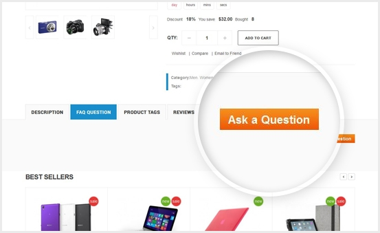 Ask Question on product page
