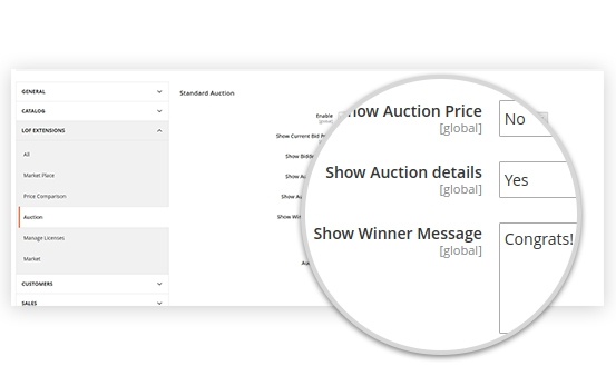 Unlimited Auction Customization Notification